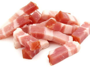 Products And Ingredients Small Pieces Of Bacon