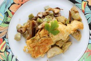 Omelette cassée champignons-artichauts : Photo de l'étape 9