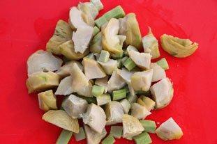 Omelette cassée champignons-artichauts : Photo de l'étape 4