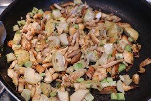 Omelette cassée champignons-artichauts : Photo de l'étape 6