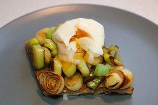 Tartines aux blancs de poireaux et oeuf mollet : Photo de l'étape 9