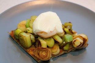 Tartines aux blancs de poireaux et oeuf mollet : Photo de l'étape 8