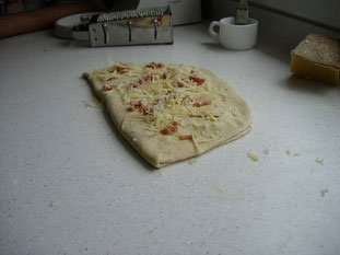 Fougasse with bacon and Comt� : Photo of step #11
