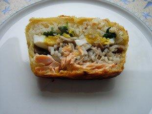 Koulibiak in pie dish : Photo of step #25