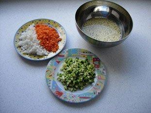 Noix de St jacques aux légumes croquants, sabayon au savagnin réduit : Photo de l'étape 1
