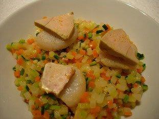 Noix de St jacques aux légumes croquants, sabayon au savagnin réduit : Photo de l'étape 18