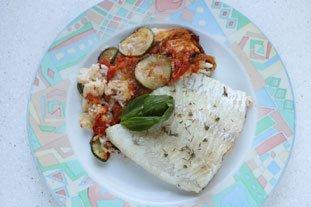 Filet de lieu en gratin de légumes et riz : Photo de l'étape 14