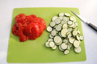 Filet de lieu en gratin de légumes et riz : Photo de l'étape 1