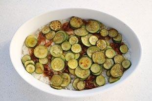 Filet de lieu en gratin de légumes et riz : Photo de l'étape 9