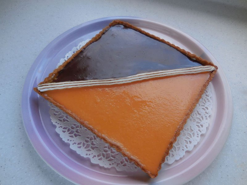 Tarte bicolore chocolat-orange