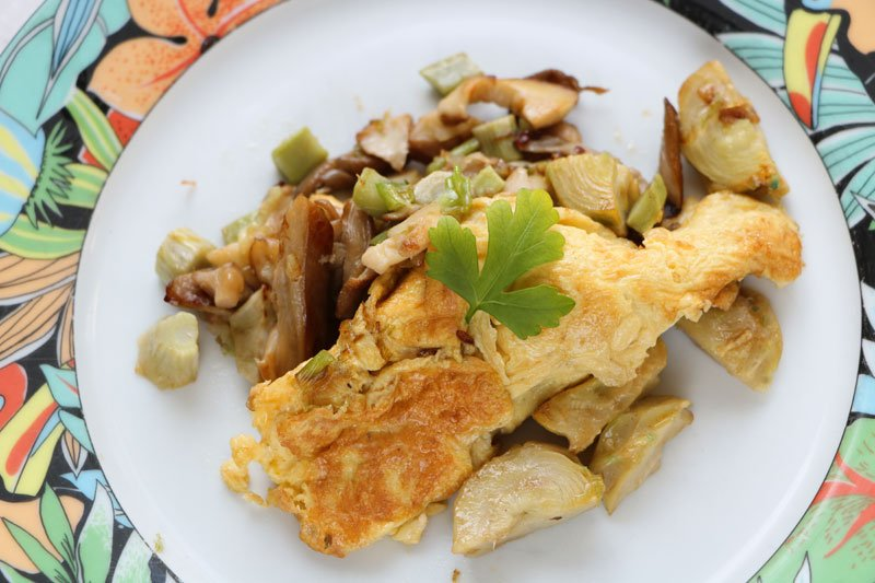 omelette cass e champignons artichauts cuisine. Black Bedroom Furniture Sets. Home Design Ideas
