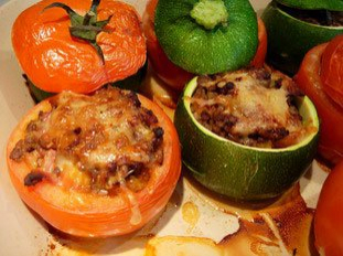 Stuffed tomatoes and courgettes