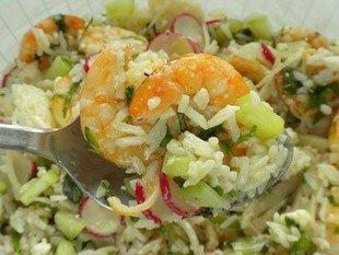 Salade mi-croquante aux crevettes
